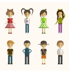 set of people cartoon characters in flat vector image vector image