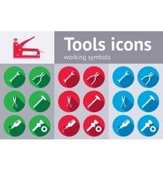 Tools icons set glue pliers stapler hammer vector
