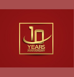 10 years anniversary with square and swoosh vector