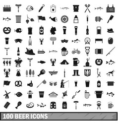 100 beer icons set simple style vector