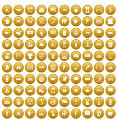100 geography icons set gold vector
