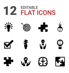 12 solution icons vector image