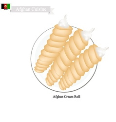 Afghan Cream Roll Popular Dessert in Afghanistan vector
