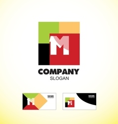 Alphabet letter M vintage strong colors logo icon vector image