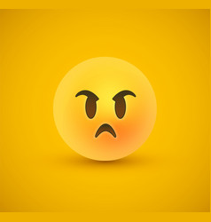 Angry mad yellow emoticon face in 3d background vector