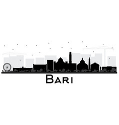 bari italy city skyline silhouette with black vector image