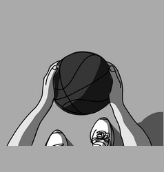 basketball hands feet and ball top view grayscale vector image