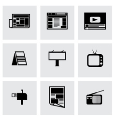 black advertisement icon set vector image