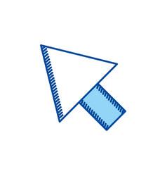 Blue contour arrowhead icon vector