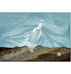 bottle in water vector image
