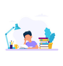 boy studying with a book concept for vector image