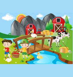 Boys and animals in farmyard vector
