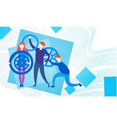 business people group with cog wheel team vector image