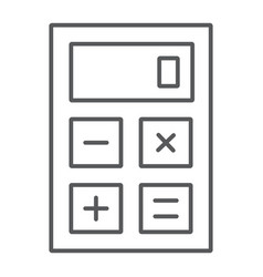 calculator thin line icon office and work vector image