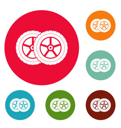 Car tyre icons circle set vector