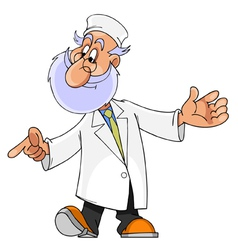 Cartoon character man with a beard doctor vector