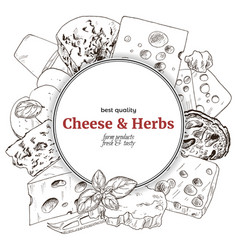 cheese banner hand drawn sketch vector image