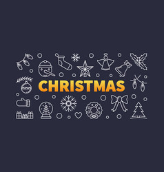 christmas outline horizontal vector image