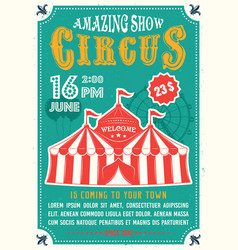 Circus amazing show colored poster in flat style vector