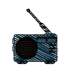 Colorful crayon silhouette of portable radio vector