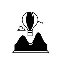 contour air balloon fly design with mountains and vector image
