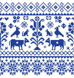 Cross stitch seamless folk art pattern vector