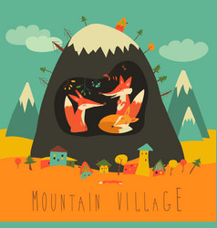 Cute village mountain with foxes inside the vector