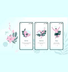 doing yoga mobile app onboard screen set vector image