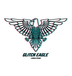 eagle sign with glitch effect design element vector image