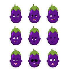 eggplant face set sleeping and evil emotion vector image
