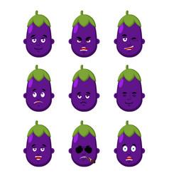 eggplant face set sleeping and evil emotion vector image