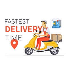 fastest delivery time - cartoon character vector image