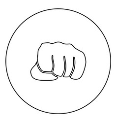 Fist black icon outline in circle image vector