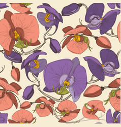 floral seamless pattern ochid flowers retro vector image