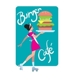 Girl on rollers carries a burger to order vector