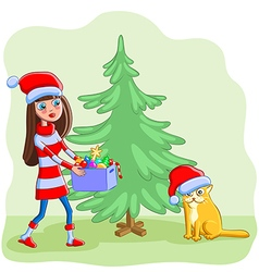 Girl with a cat decorates the christmas tree vector
