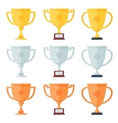 Gold silver bronze trophy in flat icons set vector