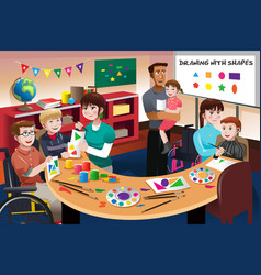 Handicapped students in a classroom vector