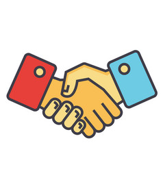 Handshake partnership concept line icon vector