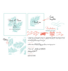 handwritten brush font wedding cards templates vector image