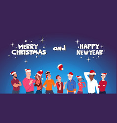 happy people wearing santa hats christmas and new vector image
