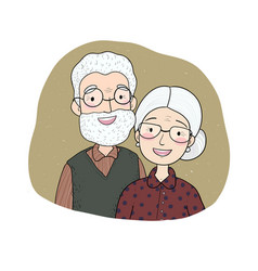 Happy senior couple grandmother and grandfather vector