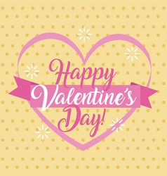 happy valentines day card pink heart and ribbon vector image