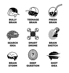 human brain signs with ideas colorless vector image