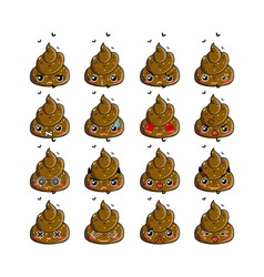 Kawaii poop emoticons set vector image