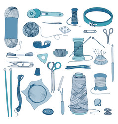 Knitting and sewing accessories hand drawn vector