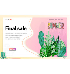 landing page -summer final sale leaves on the vector image