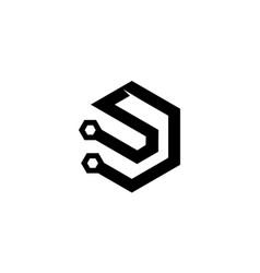 Letter d s modern vector