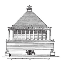 Mausoleum at halicarnassus a tomb built vintage vector
