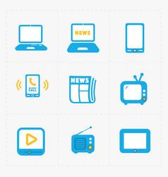 Media icons set on white background vector